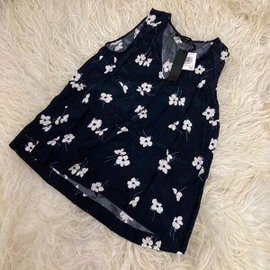 Jenni Kayne Womens B/W Silk Floral Print Dress Top